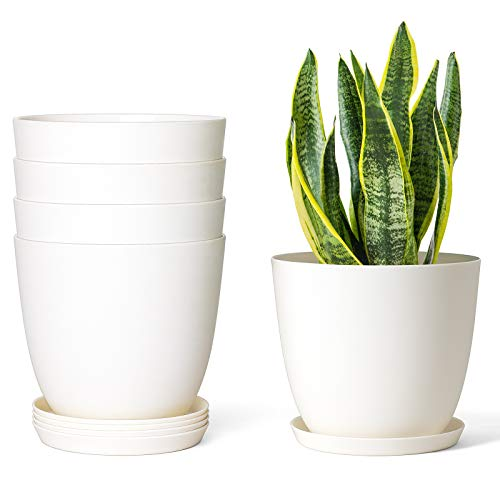 Mkono 5.5' Plastic Planters with Saucers, Indoor Set of 5 Flower Plant Pots Modern Decorative Gardening Pot with Drainage for All House Plants, Herbs, Foliage Plant, and Seeding Nursery, Cream White