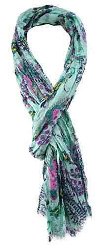 TigerTie gecrashter sjaal in mintgroen magenta patroon met kleine franjes - maat 180 x 50 cm.