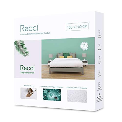 RECCI Bambus Wasserdichter Matratzenschoner 160 x 200 cm, Atmungsaktiv Matratzenauflage, Anti-Allergie, gegen Milben, Matratzenschutz für Baby Kinder Haustier [160x200]