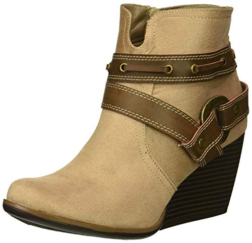 Sugar Damen HUMS Womens Casual Belted Wedge Heel Ankle Boot Stiefelette, Taupe Fabric, 37.5 EU
