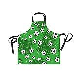 Ahomy Verstellbare Latzschürze mit 2 Taschen, Fußball- und Fußball-Schürze, für Damen, für Grill, Küche, Kochen, Basteln, Backen