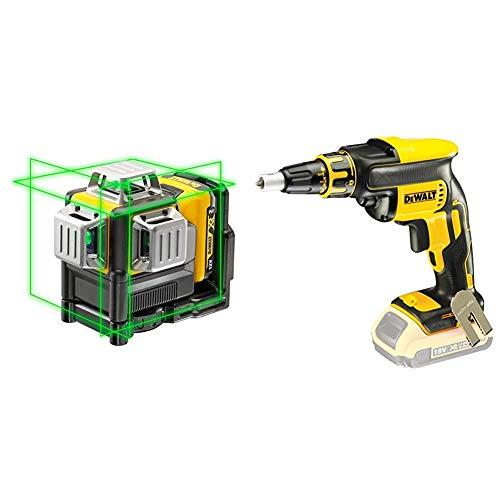 DeWalt DCE089D1G-QW DCE089D1G-QW-Láser autonivelante de 3 lineas de 360º-Incluye batería DW 10,8V Litio-Verde + DCF620N-XJ - Tornillo Destornillador Drywall sin escobillas inalámbrico, 18v