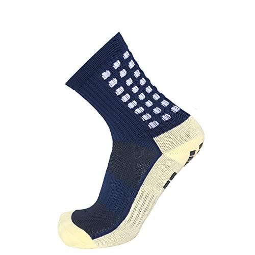 NEIYI Calcetines de fútbol Redondo Silicona Succión de succión Grip Anti resbalón Socker Socks Deportes Hombres Mujeres Béisbol Rugby Calcetines-azul marino