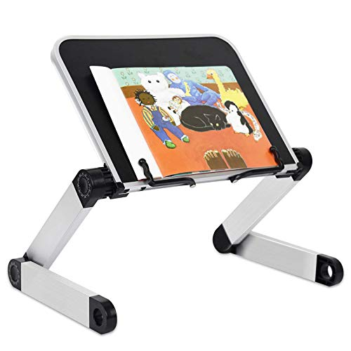 Book Stand, RAINBEAN Book Holder Adjustable Height & Angle Ergonomic with Page Paper Clips for Reading Big Heavy Textbooks Music Books Tablet Cook Recipe Hands Free, Portable Aluminum Home Desk Stand