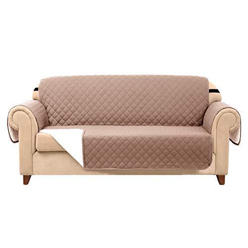 Subrtex Funda de sofá acolchada reversible de 1,2,3 plazas con correas elásticas ajustables, bolsillo lateral de almacenamiento, lona, arena, 2 Seaters