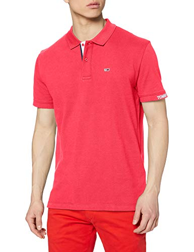 Tommy Jeans Herren TJM Rib Polo Poloshirt, Pink (Bright Cerise Pink T1k), Large