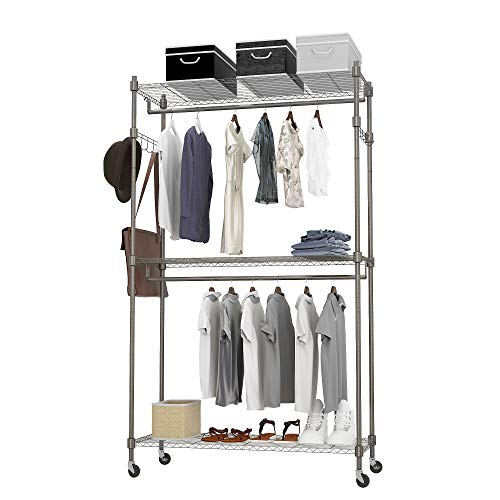 BATHWA Rolling Garment Rack with Adjustable Wire Shelf, 3 Tired Heavy Duty Clothes Rack Including 1 Clothes Hanging Bar, 4 Hanger Hooks - Hold Up to 400Lbs (Gray, 2Rod 2Hook)