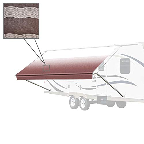 ALEKO Manual Retractable RV Trailer Awning for Home or Camper- 20x8 Ft - Brown Stripes
