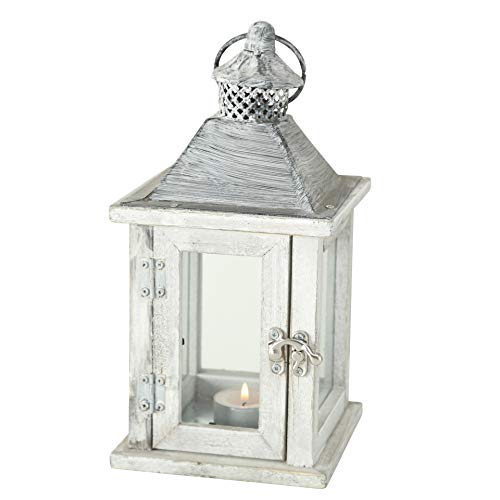WHW Whole House Worlds Farmers Market Wooden Candle Lantern Hurricane, Rustic Dark Metal Roof, Shabby Weathered Finish, White Stained Fir, 10 Inches Tall Galvanized Metal Floor Plate