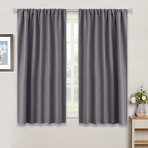 """Gray Blackout Curtains for Kitchen - RYB HOME ( 42"""" W by 45"""" L, Grey, Set of 2 ) Thermal Insulated Noise Reducing Rod Pocket Slot Top Small Draperies Window Treatments Home Decoration for Bedroom"""