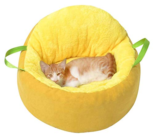 Getrichar Multifunctional Portable Pet Cat Bed with Removable Cushion & Non-Slip Bottom Cat Sleeping Nest Kitten Sofa for Indoor and Outdoor (Color : Yellow)