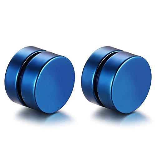 JewelryWe Joyería 8mm Pendientes Iman Non Piercing Zarcillos Dorados Aretes Pequeños, Pendientes Studs Redondos Unisex Estilo HipHop Rockero, 4 pares