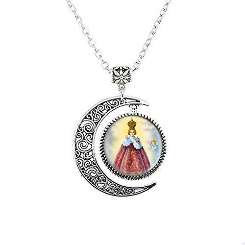 Collana con luna cattolica di Gesù di Praga. Medaglia cristiana cattolica. Charm Jewelry vetro foto gioielli