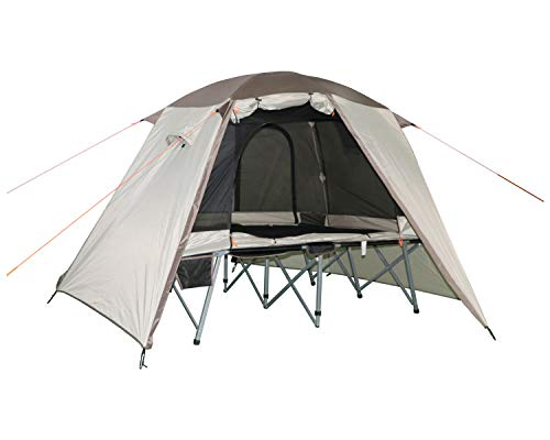 Timber Ridge 2 Person Quick Setup Full Fly Cot Tent, Tan, 80'X50'X47' (WF-7447)
