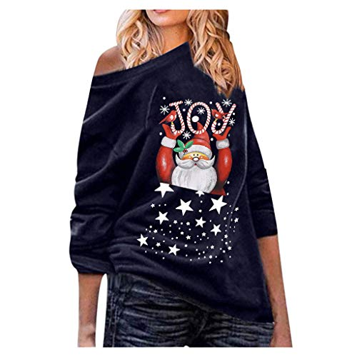 jieGorge Camisas y Blusas de Mujer, Tops Casuales Sueltos con Hombros Descubiertos para Mujer de Navidad Suéter de Camisa de Gran tamaño, Tops Casuales para Mujer (Armada XL)
