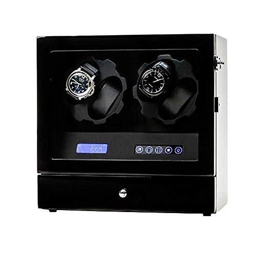 FFAN Enrolladores de Relojes para 4 Relojes Negro, silencioso, con Pilas, Relojes de Madera, enrolladores, Caja de presentación, Caja de Almacenamiento