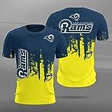 Xiaolimou NFL Seattle Seahawks, San Francisco 49Ers, Arizona Cardinals, Los Angeles Rams Hommes T-Shirt, Un Cadeau Maillot Manches Courtes pour Les Fans De Rugby,Rams,XS
