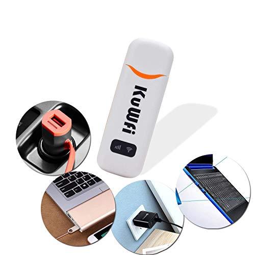 Surfstick, KuWFi Tragbarer USB-Auto-Dongle mit 150 MBit/s und SIM-Kartensteckplatz unterstützt B1/B3/B7/B8/B20 mit O2 / E-Plus / T-Mobile / Vodafone Outdoor und Indoor am Bus- oder Auto-4GDongleRouter