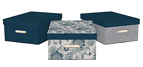 GIOLANBOXES - SERIE BLU MIX 3 pz. - Scatole in cartone per cambio stagione. Scatole per armadi automontati. Contenitori portaoggetti. 100% riciclabili con la carta. Misure 49,5 x 36,5 x 21h. (Blu)