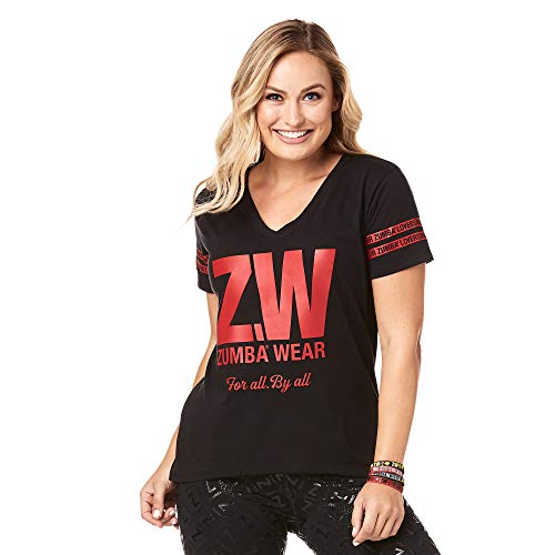 Zumba Camiseta de Entrenamiento de Moda con Cuello de Pico para Mujer X-Pequeña BB Negro