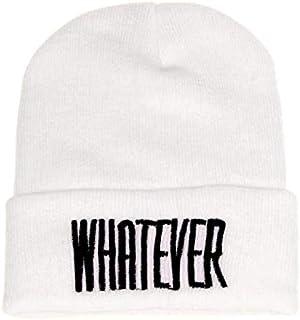 STORTO Unisex Winter Whatever Letter Print Beanie Hat Fashion Skull Cap