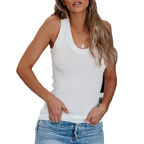 Rishine Womens Summer Sleeveless Round Neck Casual Basic Workout Gym Shirts Tank Tops White