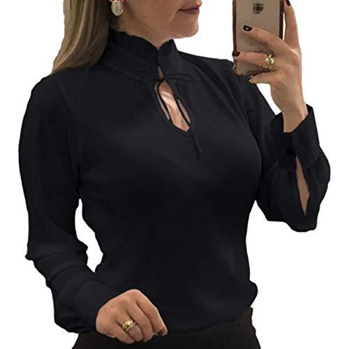Blusa de Manga Larga para Mujer, Elegante Cuello Alto, Camisa de Gasa Delgada de Color sólido con Escote Hueco Personalizado XXL