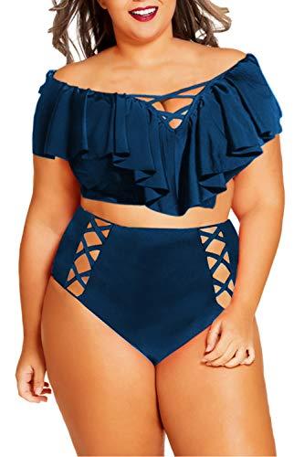 Kisscynest Women's Plus Size Swimwear 2 Piece High Waisted Swimsuit Ruffle Bikini Navy Blue 4XL