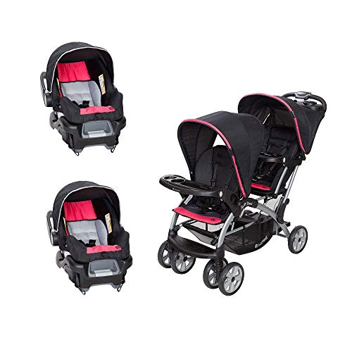 Baby Trend Sit N' Stand Easy Fold Baby Double Stroller and 2 Infant Comfortable Carry Travel Car Seats Combo, Optic Pink