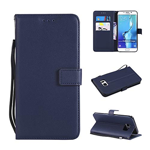 Leather Wallet Phone Case for Samsung Galaxy S7 Edge with Credit Card Holder Slot Kickstand Folio Flip Cover Full Body Protective Cell Accessories Glaxay S7edge S 7 Plus GS7 7s 7edge Women Blue