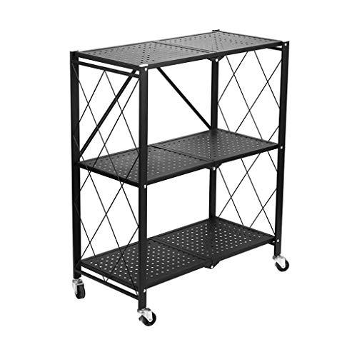 ZLININ Estante de almacenamiento de cocina de pie, utensilios de cocina, carrito plegable, estante sin horno (negro, 71,1 x 86,8 x 34,4 cm)