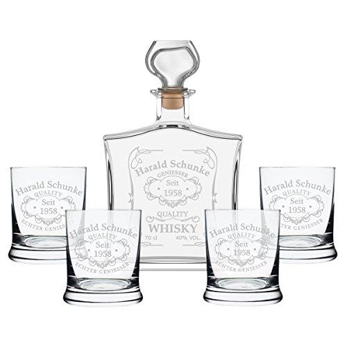 polar-effekt 5-TLG Geschenk-Set mit Whiskeyflasche und 4 Leonardo Whiskygläser - Edle Glas-Karaffe Inhalt: 700ml - mit Gravur Motiv Quality Whisky