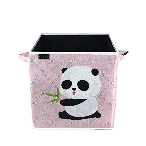 BeeGreen Foldable Animal Cube Bins Collapsible Storage Cubes Organizer with HandlesToy BoxChestOrganizer for ToddlerKids Nursery Playroom Panda 13 Inch