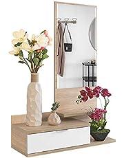 COMIFORT Recibidor Colgante - Mueble de Entrada con Cajón, Espejo y 3 Estantes de Estilo Nórdico y Moderno, Muy Resistente y Estable, de Color Blanco y Roble