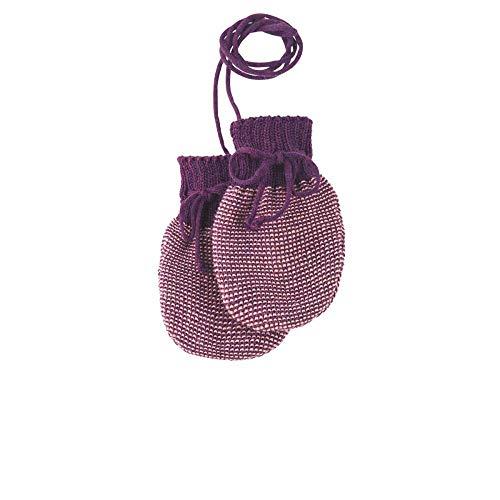 Disana Baby Strick-Handschuhe reine Bio-Merinowolle, Pflaume-Rose, Gr. 0 (5-12 Monate)