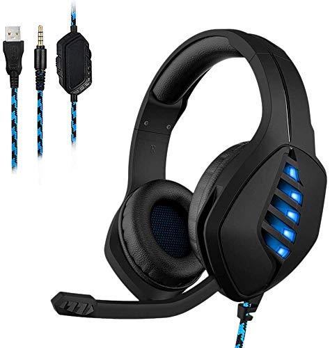 1yess Écouteurs pour Jeux, sur Les écouteurs cachés Annulation de Bruit Écouteurs et contrôle du Volume, la lumière LED Compatible avec PS4, Switch, PC, PS3, Mac, Portable