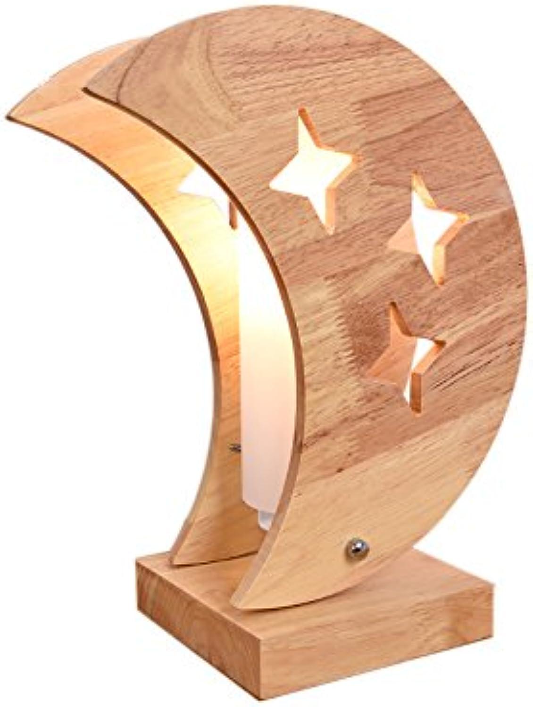 + Studieren Sie Warmes Licht Dekoration Tischlampe Schlafzimmer Nachttischlampe Holz Tischlampe    (gre   Moon)