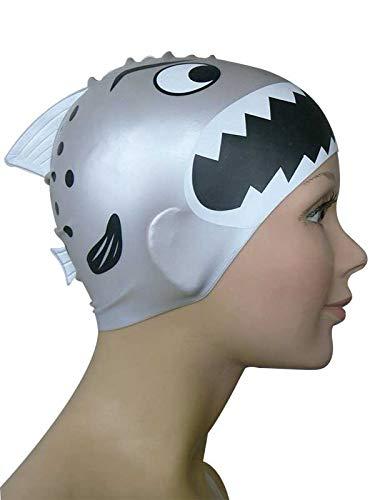 Diapolo Professionale Schwimmkappe Angry Fish Silikon Badekappe Bademütze Schwimmmütze für Damen und Herren und Mädchen und Jungen