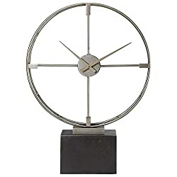Uttermost Janya Table Clock in Silver and Black