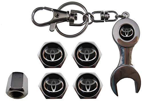 ETMA sleutelhanger metaal + ventielen compatibel met Toyota zwart aut011-53