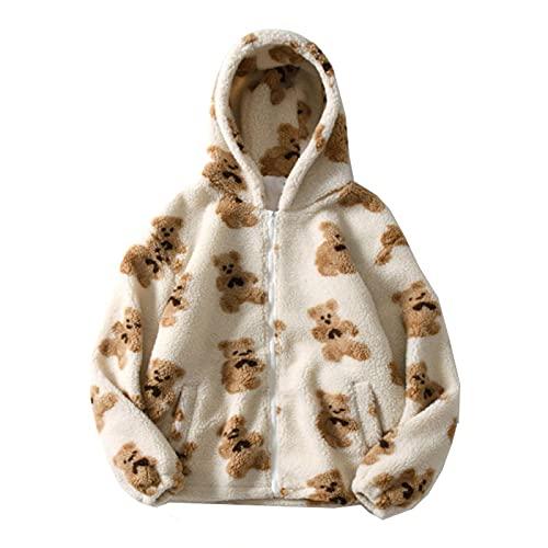 Hoodie Damen Kawaii Bär Bestickter Plüsch Kapuzenpullover Teenager Mädchen süßes Cartoon-Bär Grafik Kapuzen-Sweatshirt Full Zip Winter Warmes Übergangs-Hoodie Sweatshirt mit Kapuze und Tasche