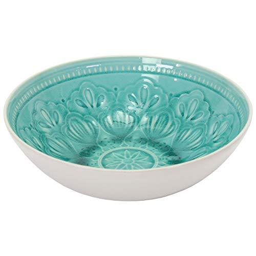 Schale FINCA Salatschüssel Schüssel Obstschale Keramik Keramikschale Design Dekor Weiß Türkis 27 cm D