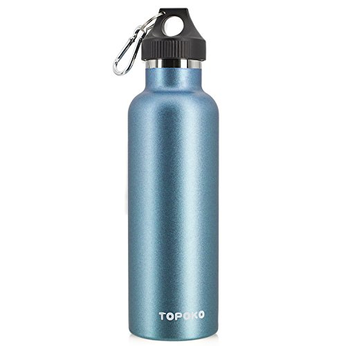 TOPOKO Colored Non-Rusty Stainless Steel Vacuum Water Bottle Double Wall Insulated Thermos, Sports Hike Travel, Leak Proof Bottle, BPA Free, 25 oz, Blue