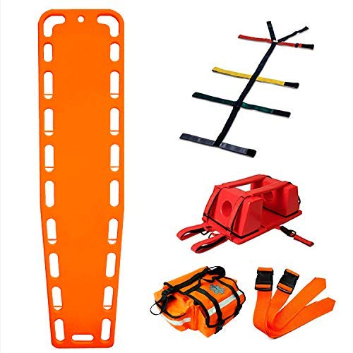 First Responder EMT Backboard Spine Board Stretcher Immobilization with Head Bed and Spider Straps - Gift EMT Trauma Bag … (Orange)
