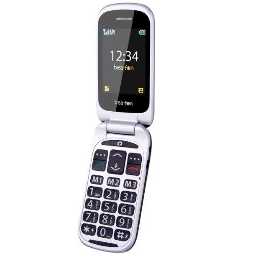Beafon SL650 Großtastenhandy (6,1 cm (2,4 Zoll) OLED-Display, 2 Megapixel Kamera, Bluetooth, SOS-Notruftaste) rot/Silber