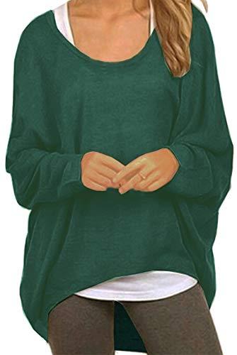 Meyison Damen Lose Asymmetrisch Sweatshirt Pullover Bluse Oberteile Oversized Tops T-Shirt Dunkel Grün M
