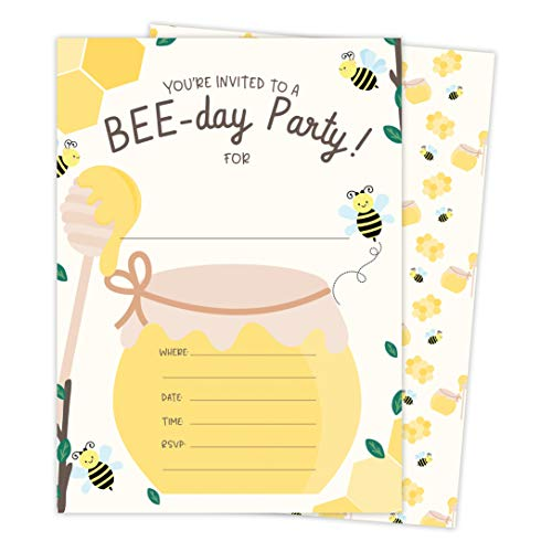 Bumble Bee 2 Happy Birthday Invitations Invite Cards (25 Count) With Envelopes and Seal Stickers Vinyl Boys Girls Kids Party (25ct)