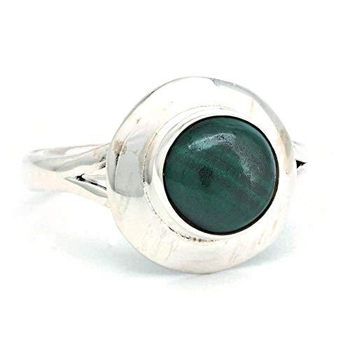 Ring Silber 925 Sterlingsilber Malachit grün Stein (Nr: MRI 190), Ringgröße:60 mm/Ø 19.1 mm