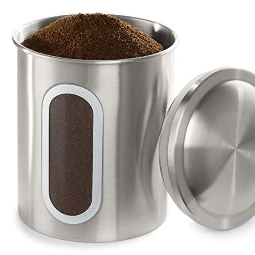 Xavax Aufbewahrungsbox für Küche u. Kaffee, luftdicht (Kaffee-Dose mit Deckel für 500g Kaffeebohnen, Vorratsdose für Lebensmittel/Tee/Zucker/Mehl/Cornflakes, transparentes Sichtfenster, 1,8l) silber