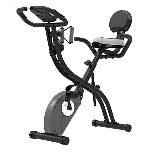 Weiyue Bicicleta estática Plegable, X-Bike Bicicleta Fitness con sensores Pulso y 8 configuraciones Resistencia magnética y Soporte iPad Asiento y Respaldo tapizados cómodos-Negro 76 * 38 * 106cm